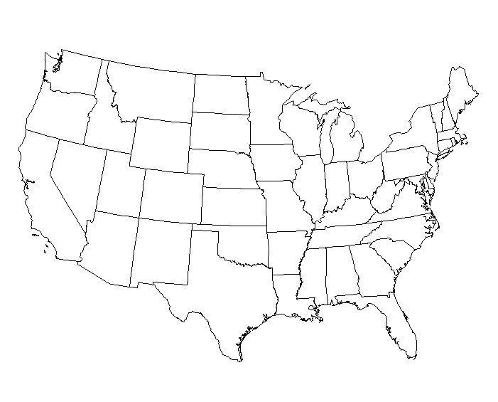 Homework Conversations With A Cowboy - Map of us states no names