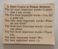Short Course in Human Relations